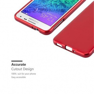 Cadorabo Hülle für Samsung Galaxy ALPHA in METALLIC ROT - Handyhülle aus flexiblem TPU Silikon - Silikonhülle Schutzhülle Ultra Slim Soft Back Cover Case Bumper - Vorschau 2