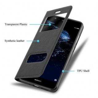 Cadorabo Hülle für Huawei P10 LITE in KOMETEN SCHWARZ ? Handyhülle mit Magnetverschluss, Standfunktion und 2 Sichtfenstern ? Case Cover Schutzhülle Etui Tasche Book Klapp Style - Vorschau 3