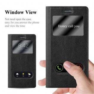 Cadorabo Hülle für Huawei P7 in KOMETEN SCHWARZ ? Handyhülle mit Magnetverschluss, Standfunktion und 2 Sichtfenstern ? Case Cover Schutzhülle Etui Tasche Book Klapp Style - Vorschau 2