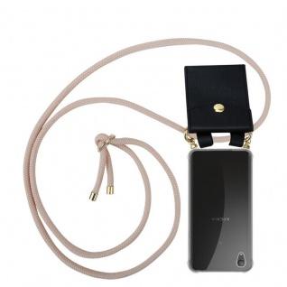 Cadorabo Handy Kette für Sony Xperia XA1 PLUS in PERLIG ROSÉGOLD Silikon Necklace Umhänge Hülle mit Gold Ringen, Kordel Band Schnur und abnehmbarem Etui Schutzhülle