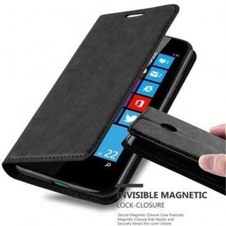 Cadorabo Hülle für Nokia Lumia 630 in NACHT SCHWARZ - Handyhülle mit Magnetverschluss, Standfunktion und Kartenfach - Case Cover Schutzhülle Etui Tasche Book Klapp Style