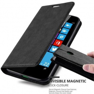 Cadorabo Hülle für Nokia Lumia 630 in NACHT SCHWARZ Handyhülle mit Magnetverschluss, Standfunktion und Kartenfach Case Cover Schutzhülle Etui Tasche Book Klapp Style