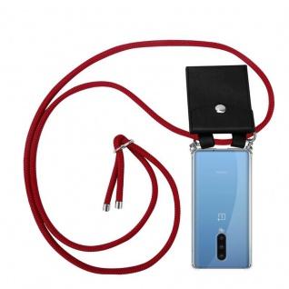 Cadorabo Handy Kette für Oneplus 8 in RUBIN ROT Silikon Necklace Umhänge Hülle mit Silber Ringen, Kordel Band Schnur und abnehmbarem Etui Schutzhülle