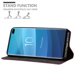 Cadorabo Hülle für Samsung Galaxy S10 PLUS in APFEL ROT - Handyhülle mit Magnetverschluss, Standfunktion und Kartenfach - Case Cover Schutzhülle Etui Tasche Book Klapp Style - Vorschau 4
