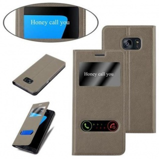 Cadorabo Hülle für Samsung Galaxy S7 EDGE in STEIN BRAUN ? Handyhülle mit Magnetverschluss, Standfunktion und 2 Sichtfenstern ? Case Cover Schutzhülle Etui Tasche Book Klapp Style - Vorschau 4