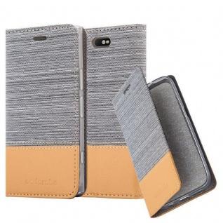 Cadorabo Hülle für Sony Xperia XZ1 in HELL GRAU BRAUN - Handyhülle mit Magnetverschluss, Standfunktion und Kartenfach - Case Cover Schutzhülle Etui Tasche Book Klapp Style