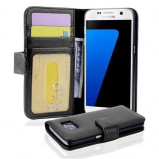 Cadorabo Hülle für Samsung Galaxy S7 in OXID SCHWARZ Handyhülle mit Magnetverschluss und 3 Kartenfächern Case Cover Schutzhülle Etui Tasche Book Klapp Style