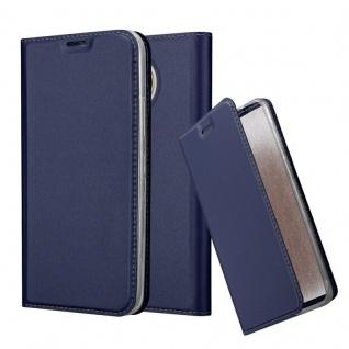Cadorabo Hülle für Motorola MOTO G5S PLUS in CLASSY DUNKEL BLAU - Handyhülle mit Magnetverschluss, Standfunktion und Kartenfach - Case Cover Schutzhülle Etui Tasche Book Klapp Style