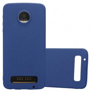 Cadorabo Hülle für Motorola MOTO Z PLAY in FROST DUNKEL BLAU - Handyhülle aus flexiblem TPU Silikon - Silikonhülle Schutzhülle Ultra Slim Soft Back Cover Case Bumper