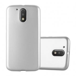 Cadorabo Hülle für Motorola MOTO G4 / G4 PLUS in METALLIC SILBER - Handyhülle aus flexiblem TPU Silikon - Silikonhülle Schutzhülle Ultra Slim Soft Back Cover Case Bumper