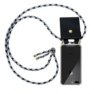 Cadorabo Handy Kette für Apple iPhone 8 PLUS / 7 PLUS / 7S PLUS in SCHWARZ CAMOUFLAGE Silikon Necklace Umhänge Hülle mit Gold Ringen, Kordel Band Schnur und abnehmbarem Etui Schutzhülle