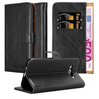 Cadorabo Hülle für Samsung Galaxy A8 2015 in GRAPHIT SCHWARZ - Handyhülle mit Magnetverschluss, Standfunktion und Kartenfach - Case Cover Schutzhülle Etui Tasche Book Klapp Style