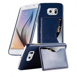 Cadorabo Hülle für Samsung Galaxy S6 - Hülle in BLAU ? Handyhülle mit Kartenfach und Standfunktion - Hardcase Bumper Back Case Cover