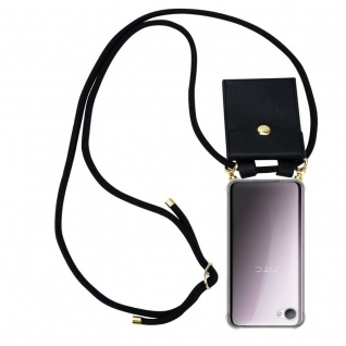 Cadorabo Handy Kette für HTC Desire 12 in SCHWARZ - Silikon Necklace Umhänge Hülle mit Gold Ringen, Kordel Band Schnur und abnehmbarem Etui ? Schutzhülle
