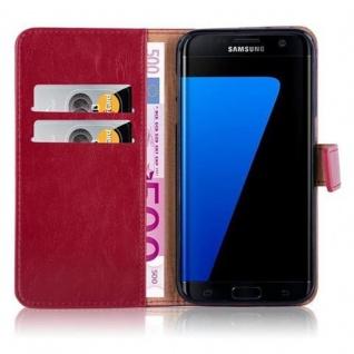 Cadorabo Hülle für Samsung Galaxy S7 EDGE in WEIN ROT ? Handyhülle mit Magnetverschluss, Standfunktion und Kartenfach ? Case Cover Schutzhülle Etui Tasche Book Klapp Style - Vorschau 3
