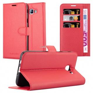 Cadorabo Hülle für Samsung Galaxy A8 2016 in KARMIN ROT - Handyhülle mit Magnetverschluss, Standfunktion und Kartenfach - Case Cover Schutzhülle Etui Tasche Book Klapp Style