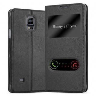 Cadorabo Hülle für Samsung Galaxy NOTE 4 in KOMETEN SCHWARZ Handyhülle mit Magnetverschluss, Standfunktion und 2 Sichtfenstern Case Cover Schutzhülle Etui Tasche Book Klapp Style