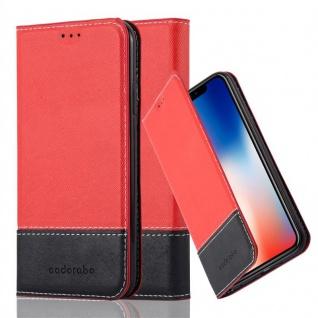 Cadorabo Hülle für Apple iPhone X / XS in ROT SCHWARZ - Handyhülle mit Magnetverschluss, Standfunktion und Kartenfach - Case Cover Schutzhülle Etui Tasche Book Klapp Style