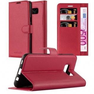 Cadorabo Hülle für Samsung Galaxy S8 in KARMIN ROT Handyhülle mit Magnetverschluss, Standfunktion und Kartenfach Case Cover Schutzhülle Etui Tasche Book Klapp Style