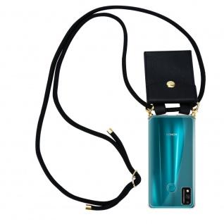 Cadorabo Handy Kette für Honor 9x Lite in SCHWARZ Silikon Necklace Umhänge Hülle mit Gold Ringen, Kordel Band Schnur und abnehmbarem Etui Schutzhülle