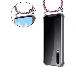 Cadorabo Handy Kette für Huawei P30 in ROT WEISS - Silikon Necklace Umhänge Hülle mit Silber Ringen, Kordel Band Schnur und abnehmbarem Etui - Schutzhülle - Vorschau 5