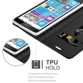 Cadorabo Hülle für Nokia Lumia 1320 in CLASSY SCHWARZ - Handyhülle mit Magnetverschluss, Standfunktion und Kartenfach - Case Cover Schutzhülle Etui Tasche Book Klapp Style - Vorschau 2