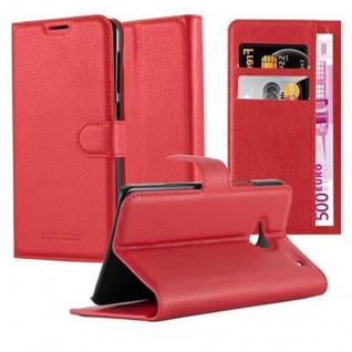 Cadorabo Hülle für HTC ONE M7 (1. Gen.) in KARMIN ROT - Handyhülle mit Magnetverschluss, Standfunktion und Kartenfach - Case Cover Schutzhülle Etui Tasche Book Klapp Style