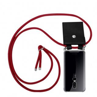 Cadorabo Handy Kette für OnePlus 6 in RUBIN ROT Silikon Necklace Umhänge Hülle mit Silber Ringen, Kordel Band Schnur und abnehmbarem Etui Schutzhülle