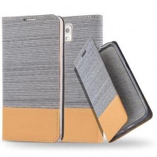 Cadorabo Hülle für Samsung Galaxy NOTE 3 in HELL GRAU BRAUN - Handyhülle mit Magnetverschluss, Standfunktion und Kartenfach - Case Cover Schutzhülle Etui Tasche Book Klapp Style