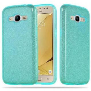 Cadorabo Hülle für Samsung Galaxy J2 2016 - Hülle in STERNENSTAUB TÜRKIS ? TPU Silikon und Hardcase Handyhülle im Glitzer Design - Hard Case TPU Silikon Schutzhülle