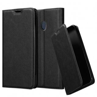 Cadorabo Hülle für Samsung Galaxy M20 in NACHT SCHWARZ Handyhülle mit Magnetverschluss, Standfunktion und Kartenfach Case Cover Schutzhülle Etui Tasche Book Klapp Style