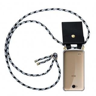 Cadorabo Handy Kette für LG X Power 2 in SCHWARZ CAMOUFLAGE - Silikon Necklace Umhänge Hülle mit Gold Ringen, Kordel Band Schnur und abnehmbarem Etui ? Schutzhülle