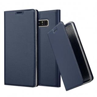Cadorabo Hülle für Samsung Galaxy NOTE 8 in CLASSY DUNKEL BLAU - Handyhülle mit Magnetverschluss, Standfunktion und Kartenfach - Case Cover Schutzhülle Etui Tasche Book Klapp Style