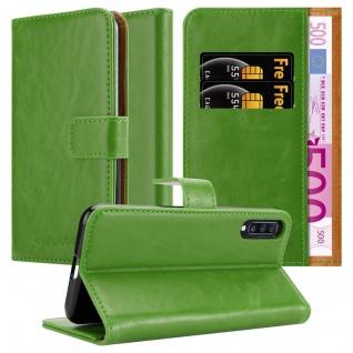 Cadorabo Hülle für Samsung Galaxy A70 in GRAS GRÜN Handyhülle mit Magnetverschluss, Standfunktion und Kartenfach Case Cover Schutzhülle Etui Tasche Book Klapp Style