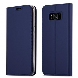 Cadorabo Hülle für Samsung Galaxy S8 PLUS in CLASSY DUNKEL BLAU - Handyhülle mit Magnetverschluss, Standfunktion und Kartenfach - Case Cover Schutzhülle Etui Tasche Book Klapp Style