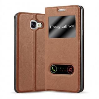 Cadorabo Hülle für Samsung Galaxy A5 2016 in BERNSTEIN BRAUN - Handyhülle mit Magnetverschluss, Standfunktion und 2 Sichtfenstern - Case Cover Schutzhülle Etui Tasche Book Klapp Style