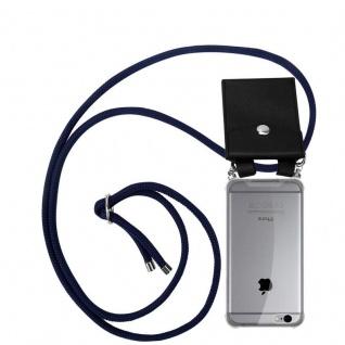Cadorabo Handy Kette für Apple iPhone 6 / iPhone 6S in TIEF BLAU - Silikon Necklace Umhänge Hülle mit Silber Ringen, Kordel Band Schnur und abnehmbarem Etui - Schutzhülle