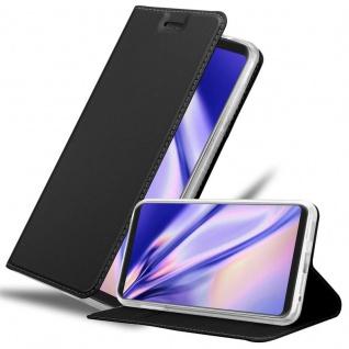 Cadorabo Hülle für LG V30 in CLASSY SCHWARZ - Handyhülle mit Magnetverschluss, Standfunktion und Kartenfach - Case Cover Schutzhülle Etui Tasche Book Klapp Style