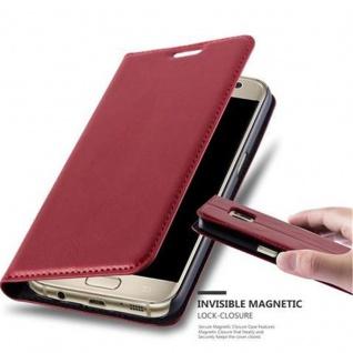 Cadorabo Hülle für Samsung Galaxy S7 in APFEL ROT - Handyhülle mit Magnetverschluss, Standfunktion und Kartenfach - Case Cover Schutzhülle Etui Tasche Book Klapp Style