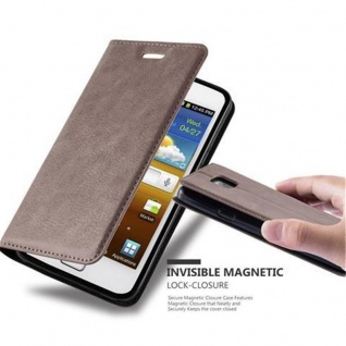 Cadorabo Hülle für Samsung Galaxy S2 / S2 PLUS in KAFFEE BRAUN - Handyhülle mit Magnetverschluss, Standfunktion und Kartenfach - Case Cover Schutzhülle Etui Tasche Book Klapp Style