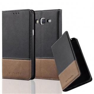 Cadorabo Hülle für Samsung Galaxy J5 2015 in SCHWARZ BRAUN - Handyhülle mit Magnetverschluss, Standfunktion und Kartenfach - Case Cover Schutzhülle Etui Tasche Book Klapp Style