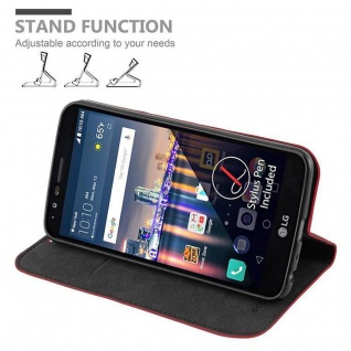 Cadorabo Hülle für LG STYLUS 3 in APFEL ROT Handyhülle mit Magnetverschluss, Standfunktion und Kartenfach Case Cover Schutzhülle Etui Tasche Book Klapp Style - Vorschau 3