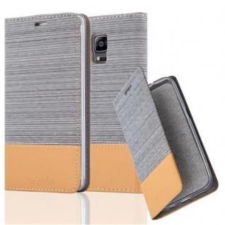 Cadorabo Hülle für Samsung Galaxy NOTE EDGE - Hülle in HELL GRAU BRAUN ? Handyhülle mit Standfunktion und Kartenfach im Stoff Design - Case Cover Schutzhülle Etui Tasche Book