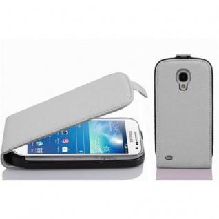 Cadorabo Hülle für Samsung Galaxy S4 MINI - Hülle in MAGNESIUM WEIß ? Handyhülle aus strukturiertem Kunstleder im Flip Design - Case Cover Schutzhülle Etui Tasche