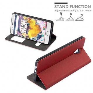 Cadorabo Hülle für OnePlus 3 / 3T in SAFRAN ROT - Handyhülle mit Magnetverschluss, Standfunktion und 2 Sichtfenstern - Case Cover Schutzhülle Etui Tasche Book Klapp Style - Vorschau 5