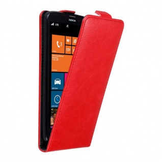 Cadorabo Hülle für Nokia Lumia 1320 in APFEL ROT Handyhülle im Flip Design mit unsichtbarem Magnetverschluss Case Cover Schutzhülle Etui Tasche Book Klapp Style