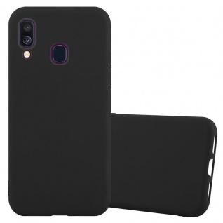 Cadorabo Hülle für Samsung Galaxy A40 in CANDY SCHWARZ - Handyhülle aus flexiblem TPU Silikon - Silikonhülle Schutzhülle Ultra Slim Soft Back Cover Case Bumper