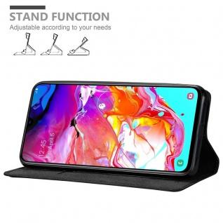 Cadorabo Hülle für Samsung Galaxy A70 in NACHT SCHWARZ - Handyhülle mit Magnetverschluss, Standfunktion und Kartenfach - Case Cover Schutzhülle Etui Tasche Book Klapp Style - Vorschau 4