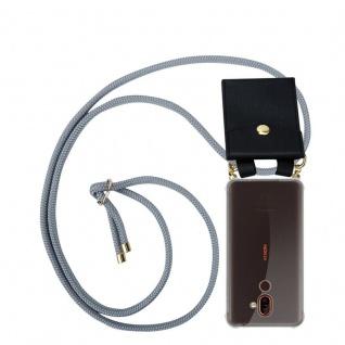 Cadorabo Handy Kette für Nokia 7 PLUS in SILBER GRAU Silikon Necklace Umhänge Hülle mit Gold Ringen, Kordel Band Schnur und abnehmbarem Etui Schutzhülle