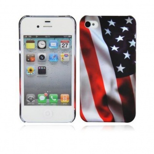 Cadorabo - Hard Cover für Apple iPhone 4 / iPhone 4S - Case Cover Schutzhülle Bumper im Design: STARS AND STRIPES
